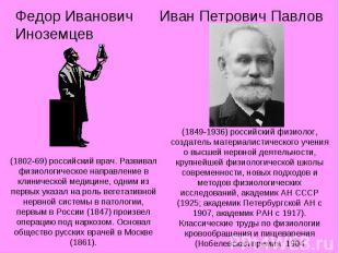 Федор Иванович Иноземцев (1802-69) российский врач. Развивал физиологическое нап