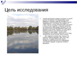 Цель исследования Каскад рукотворных прудов, не далеко от нашей школы. На берега