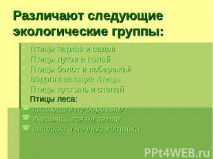 Различают следующие экологические группы: Птицы парков и садов Птицы лугов и пол