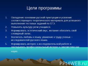 Цели программы Овладение основами русской пунктуации и усвоение соответствующего