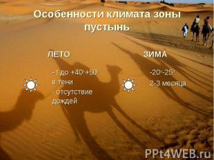 Особенности климата зоны пустынь