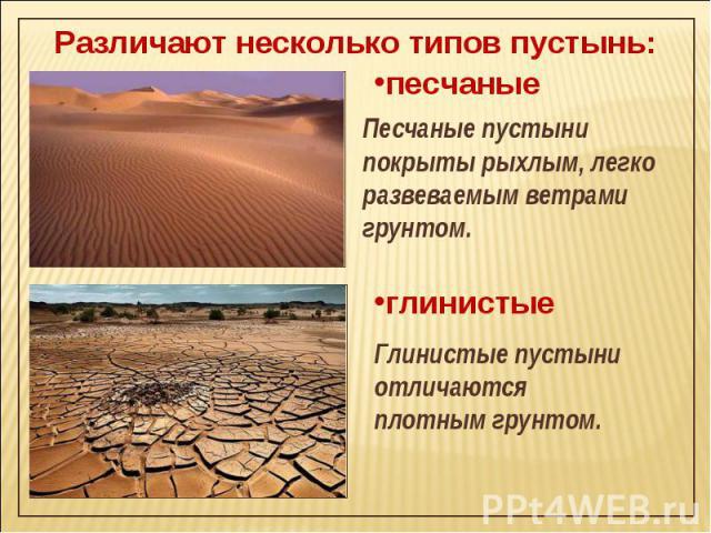 Различают несколько типов пустынь: Песчаные пустыни покрыты рыхлым, легко развеваемым ветрами грунтом. Глинистые пустыни отличаются плотным грунтом.