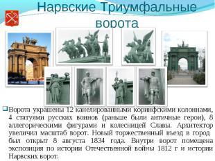 Нарвские Триумфальные ворота Ворота украшены 12 канелированными коринфскими коло