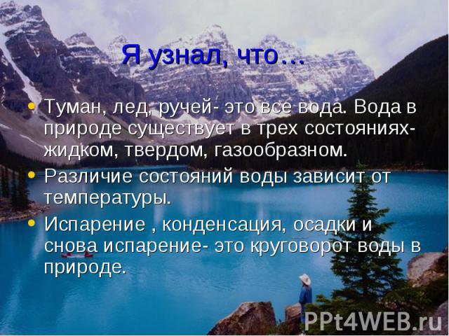 Я узнал, что… Туман, лед, ручей- это все вода. Вода в природе существует в трех состояниях- жидком, твердом, газообразном. Различие состояний воды зависит от температуры. Испарение , конденсация, осадки и снова испарение- это круговорот воды в природе.