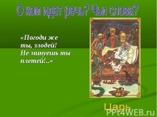 О ком идет речь? Чьи слова? «Погоди же ты, злодей! Не минуешь ты плетей!..» Царь