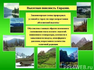 Высотная поясность Евразии. Закономерная смена природных условий в горах по мере