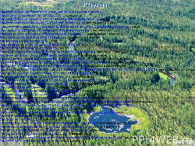 Ресурсы http://www.iki.rssi.ru/annual/img/2009/map_bart.jpg карта растительности 1 http://biology.krc.karelia.ru/misc/atl/ra23a1.gif- площадь леса http://img.readme.ru/news/200/58/b0/7474d168e6cb01fdec036faea92d.jpg мамонт http://www.skitalets.ru/ph…