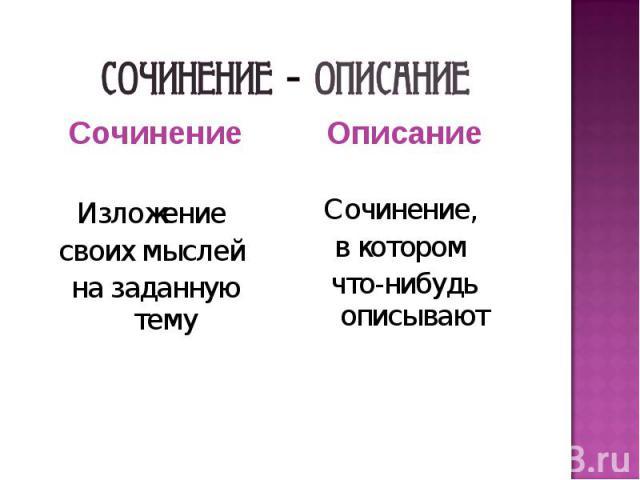 Сочинение - описание Сочинение Изложение своих мыслей на заданную тему Описание Сочинение, в котором что-нибудь описывают