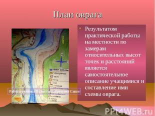 . .План оврага Результатом практической работы на местности по замерам относител