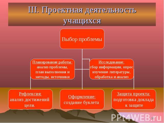 III. Проектная деятельность учащихся