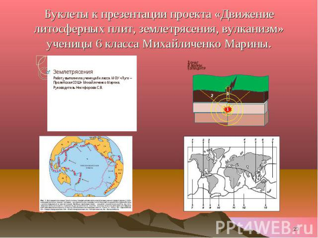 Буклеты к презентации проекта «Движение литосферных плит, землетрясения, вулканизм» ученицы 6 класса Михайличенко Марины.