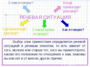 РЕЧЕВАЯ СИТУАЦИЯ Выбор слов приветствия определяется речевой ситуацией и речевым