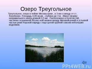 Озеро Треугольное Треугольное, озеро в пойме Москвы-реки , в 3 км к западу от ст