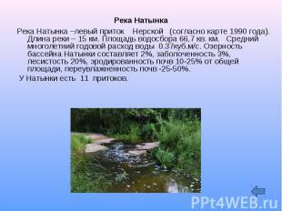 Река Натынка Река Натынка –левый приток Нерской (согласно карте 1990 года). Длин