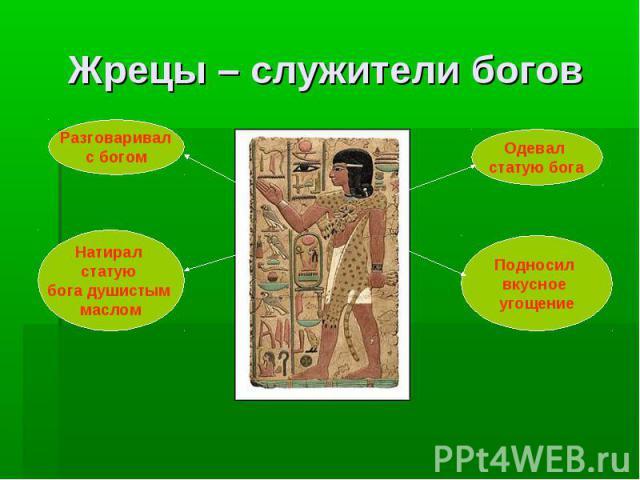 Жрецы – служители богов Разговаривал с богом Натирал статую бога душистым маслом Одевал статую бога Подносил вкусное угощение