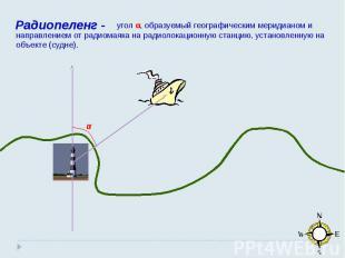 угол α, образуемый географическим меридианом и направлением от радиомаяка на рад