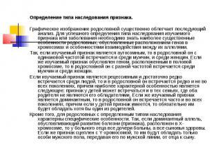 Определение типа наследования признака. Графическое изображение родословной суще
