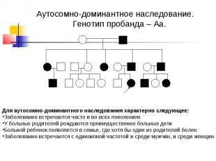 Аутосомно-доминантное наследование. Генотип пробанда – Аа. Для аутосомно-доминан