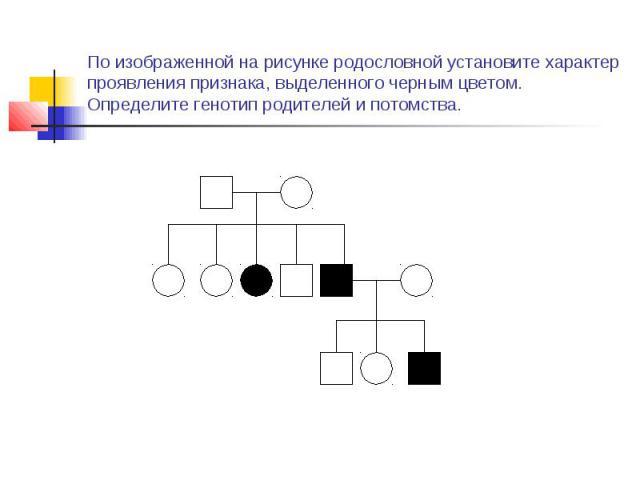 По изображенной на рисунке родословной установите характер проявления признака, выделенного черным цветом. Определите генотип родителей и потомства.