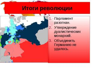 Итоги революции Парламент разогнан. Утверждение дуалистических монархий. Объедин