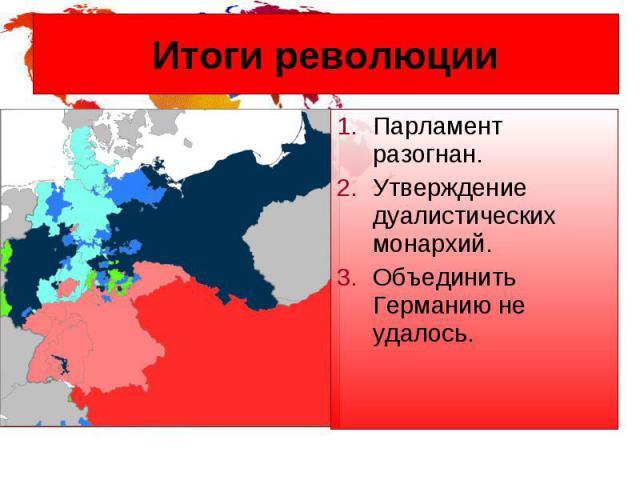 Итоги революции Парламент разогнан. Утверждение дуалистических монархий. Объединить Германию не удалось.