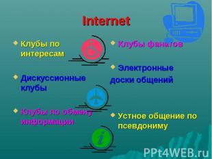 Internet Клубы по интересам Дискуссионные клубы Клубы по обмену информации Клубы
