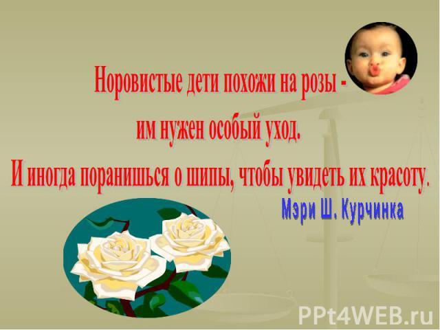 Норовистые дети похожи на розы - им нужен особый уход. И иногда поранишься о шипы, чтобы увидеть их красоту. Мэри Ш. Курчинка
