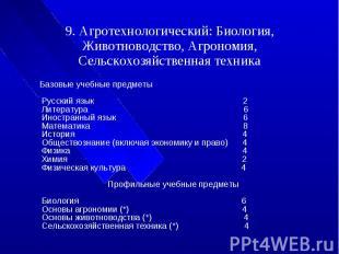 9. Агротехнологический: Биология, Животноводство, Агрономия, Сельскохозяйственна