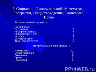 5. Социально-Экономический: Математика, География, Обществоведение, Экономика, П