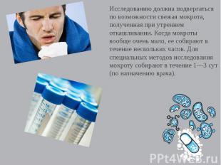 Исследованию должна подвергаться по возможности свежая мокрота, полученная при у