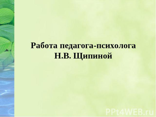 Работа педагога-психолога Н.В. Щипиной