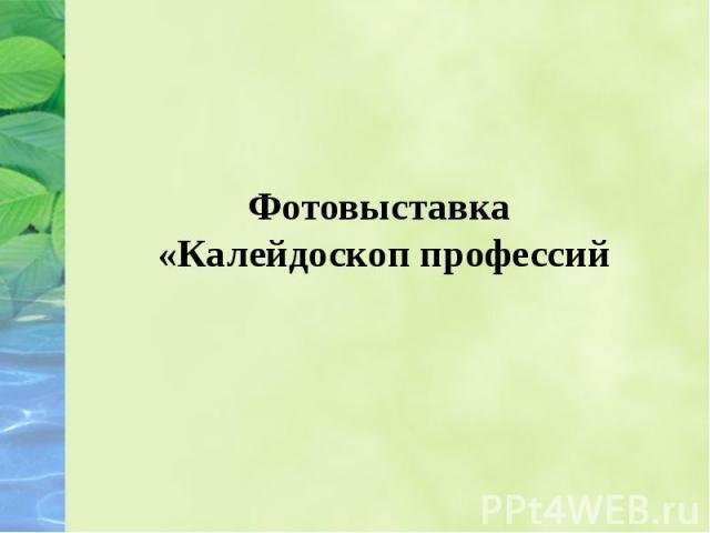 Фотовыставка «Калейдоскоп профессий