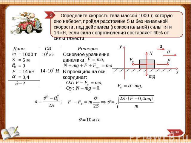 Определите скорость тела массой 1000 т, которую оно наберет, пройдя расстояние 5 м без начальной скорости, под действием (горизонтальной) силы тяги 14 кН, если сила сопротивления составляет 40% от силы тяжести.