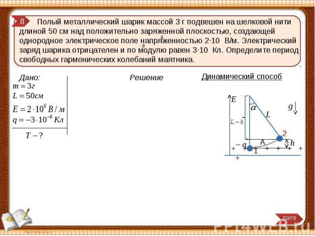 Полый металлический шарик массой 3 г подвешен на шелковой нити длиной 50 см над положительно заряженной плоскостью, создающей однородное электрическое поле напряженностью 2∙10 В/м. Электрический заряд шарика отрицателен и по модулю равен 3∙10 Кл. Оп…
