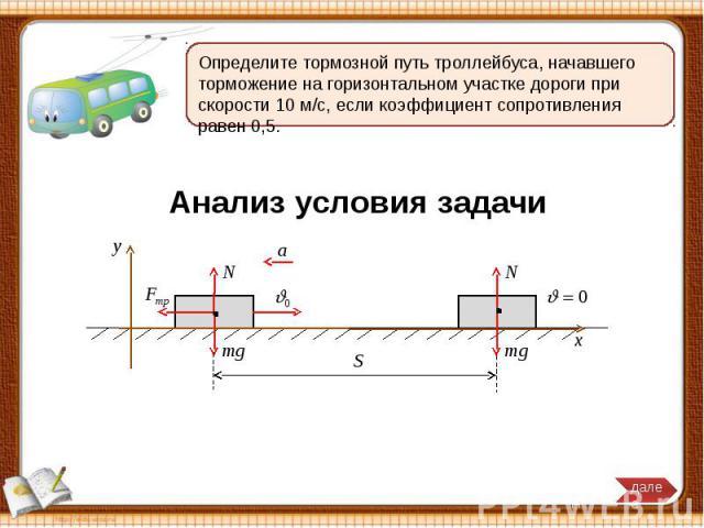 Определите тормозной путь троллейбуса, начавшего торможение на горизонтальном участке дороги при скорости 10 м/с, если коэффициент сопротивления равен 0,5.