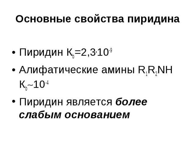 Основные свойства пиридина Пиридин Кb=2,3х10-9 Алифатические амины R1R2NH Кb 10-4 Пиридин является более слабым основанием