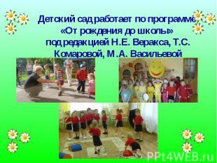 Детский сад работает по программе «От рождения до школы» под редакцией Н.Е. Вера