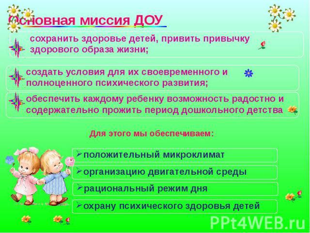 сохранить здоровье детей, привить привычку здорового образа жизни; создать условия для их своевременного и полноценного психического развития; обеспечить каждому ребенку возможность радостно и содержательно прожить период дошкольного детства Для Для…