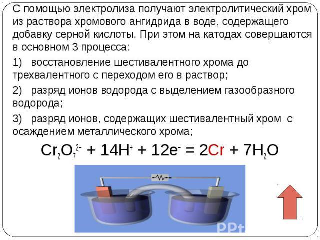С помощью электролиза получают электролитический хром из раствора хромового ангидрида в воде, содержащего добавку серной кислоты. При этом на катодах совершаются в основном 3процесса: 1) восстановление шестивалентного хрома до трехвалентного с пере…