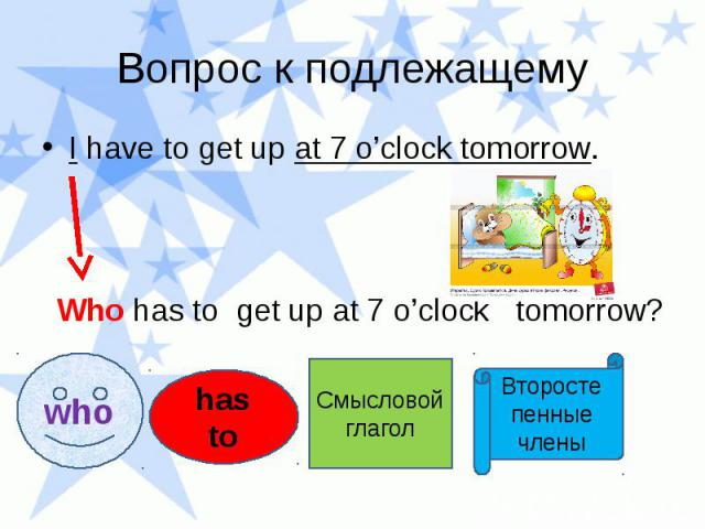 Вопрос к подлежащему I have to get up at 7 o'clock tomorrow. Who has to get up at 7 o'clock tomorrow?