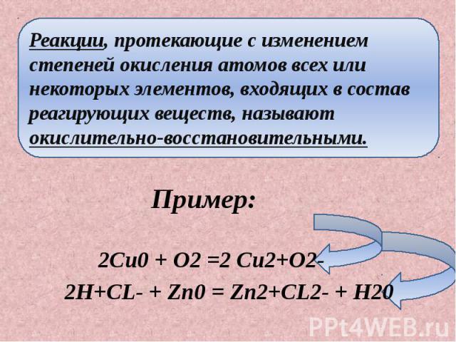 Реакции, протекающие с изменением степеней окисления атомов всех или некоторых элементов, входящих в состав реагирующих веществ, называют окислительно-восстановительными.