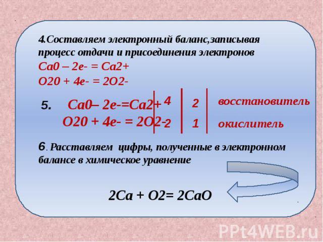 4.Составляем электронный баланс,записывая процесс отдачи и присоединения электронов Ca0 – 2e- = Ca2+ O20 + 4e- = 2O2- Расставляем цифры, полученные в электронном балансе в химическое уравнение