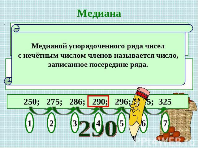 МедианаМедианой упорядоченного ряда чисел с нечётным числом членов называется число, записанное посередине ряда.