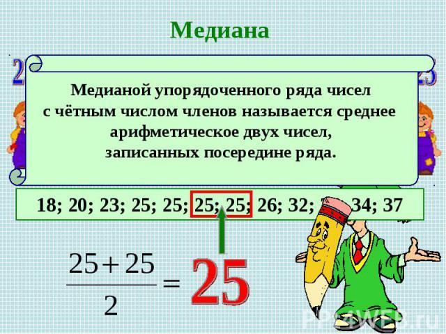 МедианаМедианой упорядоченного ряда чисел с чётным числом членов называется среднее арифметическое двух чисел, записанных посередине ряда.