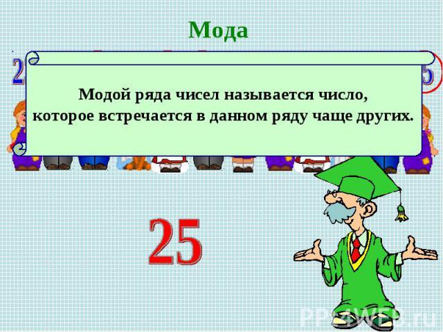 МодаМодой ряда чисел называется число, которое встречается в данном ряду чаще других.