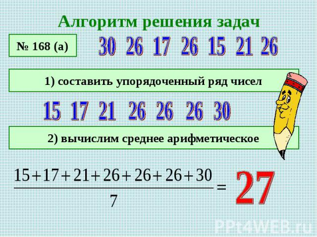 Алгоритм решения задач 1) составить упорядоченный ряд чисел 2) вычислим среднее арифметическое