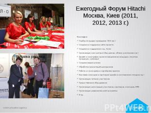 Ежегодный Форум Hitachi Москва, Киев (2011, 2012, 2013 г.) Наши задачи: Подбор п