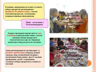 Даны рекомендации по организации 4-х разового приёма пищи (завтрак, второй завтр