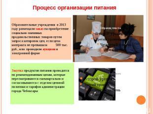 Процесс организации питания Образовательные учреждения в 2013 году размещали зак