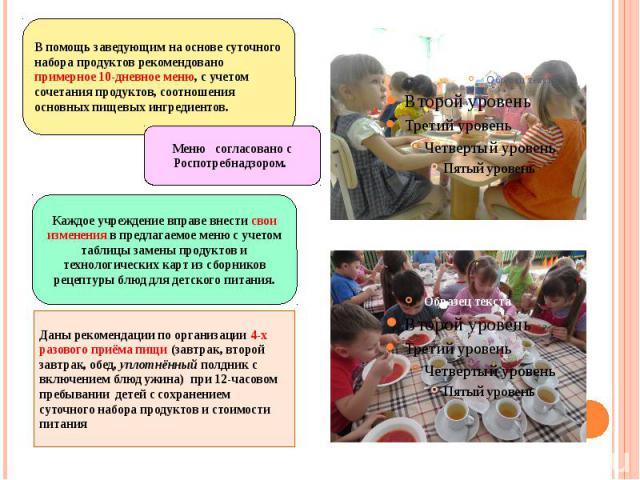 Даны рекомендации по организации 4-х разового приёма пищи (завтрак, второй завтрак, обед, уплотнённый полдник с включением блюд ужина) при 12-часовом пребывании детей с сохранением суточного набора продуктов и стоимости питания Даны рекомендации по …